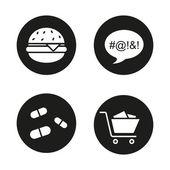 Bad habits black icons set