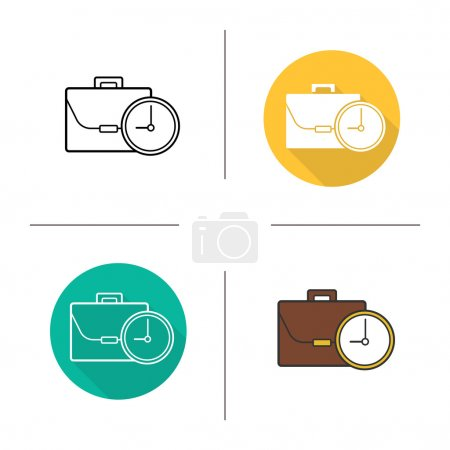 Illustration for Work time icons. Flat design, linear and color styles. Working hours isolated vector illustration - Royalty Free Image