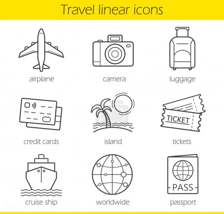 Illustration for Travelling linear icons set. Airplane, camera, lugagge, credit cards, island, tickets, cruise ship, worldwide and passport symbols. Thin line. Isolated vector illustration - Royalty Free Image