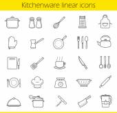 Kitchenware linear icons set