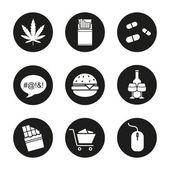 Addictions icons set