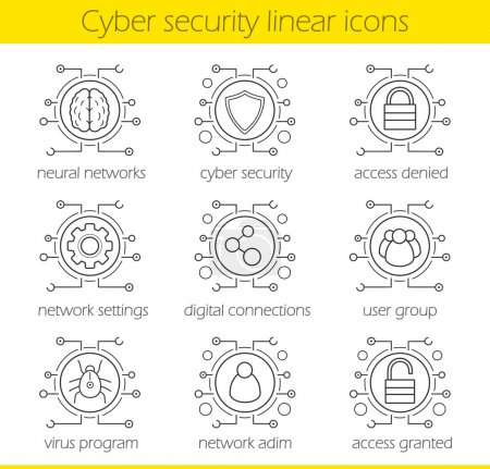 Cyber security linear icons set