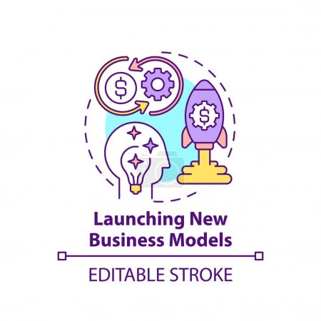 Launching new business models concept icon. Open innovation benefit idea thin line illustration. Success in startups. Maximization profits. Vector isolated outline RGB color drawing. Editable stroke