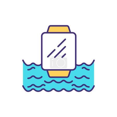 Icône de couleur RVB smartwatch étanche. Plongée dans l'eau. Séances de piscine. Sous la pluie, sous la douche. Conditions d'essai. Touches accidentelles prévention. Illustration vectorielle isolée