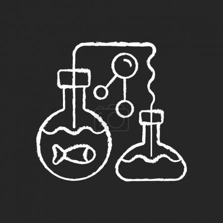 Marine chemistry chalk white icon on black background. Field of chemical oceanography studies chemistry of marine environments including influences. Isolated vector chalkboard illustration