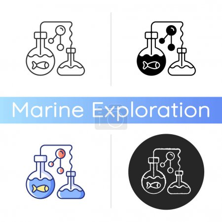 Marine chemistry icon. Field of chemical oceanography studies chemistry of marine environments including influences. Linear black and RGB color styles. Isolated vector illustrations