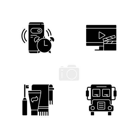 Illustration pour Icônes de glyphe noir de routine quotidienne de l'étudiant sur l'espace blanc. Réveil du matin. Horaire quotidien. Bus scolaire. Je me brosse les dents. Symboles de silhouette. Illustration vectorielle isolée - image libre de droit