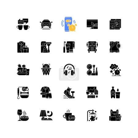 Illustration pour Icônes de glyphe noir de routine quotidienne réglées sur l'espace blanc. Réveil. Pause café. Transport en commun pour se rendre au travail, école. Tous les jours matin et soir. Symboles de silhouette. Illustration vectorielle isolée - image libre de droit