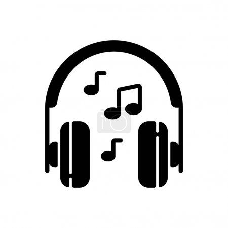 Illustration for Listening to music black glyph icon. Headphones with playing song. Hear audio in headset. Everyday entertainment and daily activities. Silhouette symbol on white space. Vector isolated illustration - Royalty Free Image