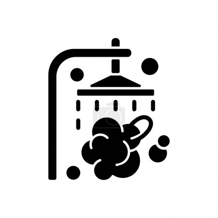 Illustration for Shower black glyph icon. Shower faucet with running water. Rinse and wash for personal hygiene. Streaming waterdrops. Daily routine. Silhouette symbol on white space. Vector isolated illustration - Royalty Free Image