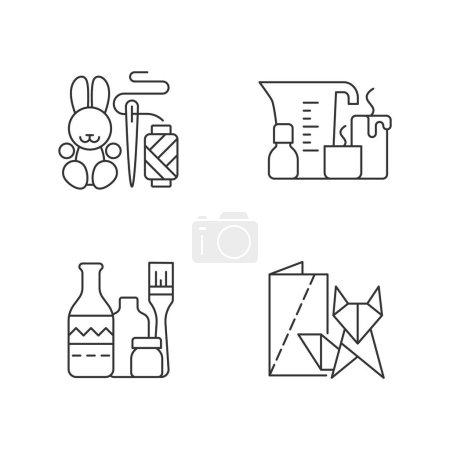 Illustration pour Ensemble d'icônes linéaires artisanales tendance. Lapin amigurumi. Fabrication de bougies. Bouteilles de vin remises en état. Jouets faits main. Symboles de contour de ligne mince personnalisables. Illustrations isolées des contours vectoriels. Course modifiable - image libre de droit