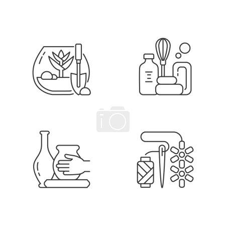 Illustration pour Loisirs créatifs icônes linéaires ensemble. Terrarium tropical bricolage. Savon artisanal. Faire de la poterie. Des perles. Symboles de contour de ligne mince personnalisables. Illustrations isolées des contours vectoriels. Course modifiable - image libre de droit