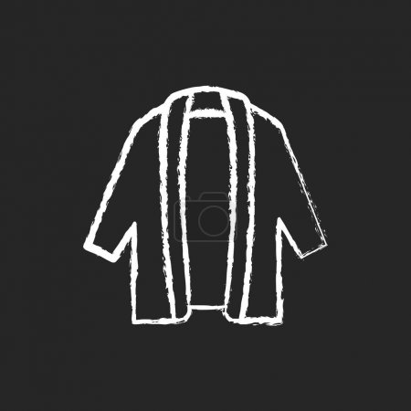 Illustration for Long cardigan chalk white icon on dark background. Oversized trendy jacket. Unisex outfit. Comfy wear for home. Comfortable homewear and sleepwear. Isolated vector chalkboard illustration on black - Royalty Free Image