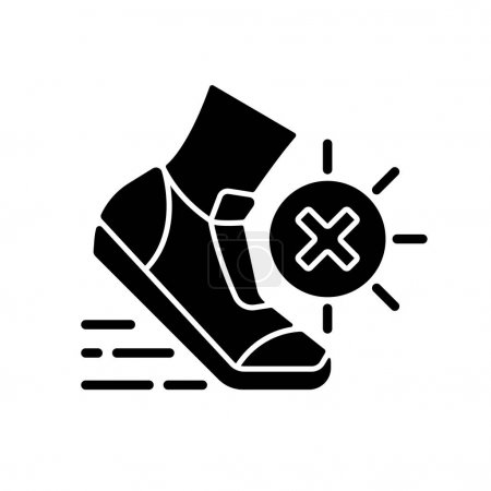 Illustration for No sports in sun heat black glyph icon. Safety for athlete. Caution during running. Avoid exercise to prevent heatstroke during summer. Silhouette symbol on white space. Vector isolated illustration - Royalty Free Image