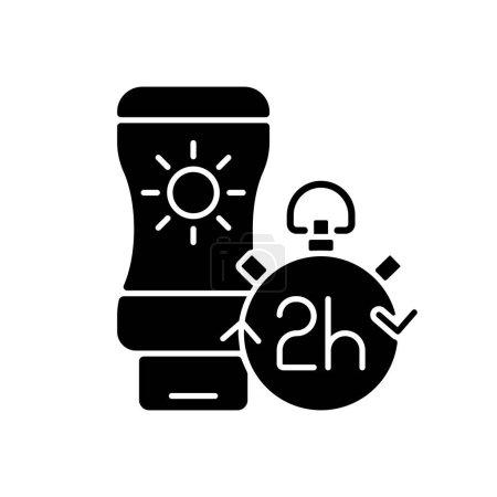 Illustration pour Appliquer un écran solaire toutes les 2 heures icône glyphe noir. Bout d'application de crème solaire. Crème pour prévenir les coups de soleil pendant la canicule estivale. Symbole de silhouette sur espace blanc. Illustration vectorielle isolée - image libre de droit