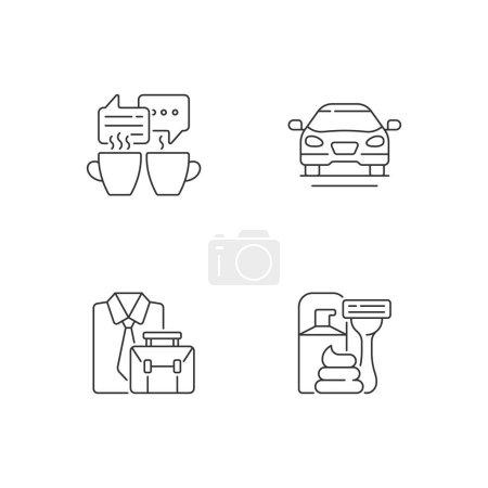 Illustration pour Activités quotidiennes icônes linéaires ensemble. Rencontre autour d'un café avec des amis. Voiture de berline. Des vêtements officiels. Symboles de contour de ligne mince personnalisables. Illustrations isolées des contours vectoriels. Course modifiable - image libre de droit