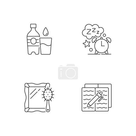 Illustration pour Horaire quotidien et icônes linéaires de routine. Bouteille d'eau. Dors un peu. Une routine quotidienne. Symboles de contour de ligne mince personnalisables. Illustrations isolées des contours vectoriels. Course modifiable - image libre de droit