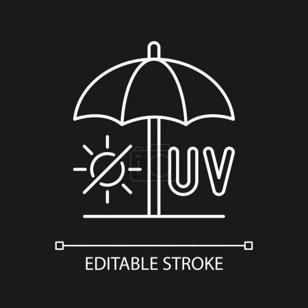 Illustration for Seek shade white linear icon for dark theme. Hide under umbrella while on beach during summer. Thin line customizable illustration. Isolated vector contour symbol for night mode. Editable stroke - Royalty Free Image
