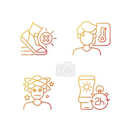 Illustration pour Ensemble d'icônes vectorielles linéaires de gradient de prévention des coups de chaleur. Évitez l'exercice pendant la canicule estivale. Appliquer un écran solaire. Faisceau de symboles de contour de ligne mince. Collection d'illustrations de contours vectoriels isolés - image libre de droit