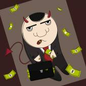 Cartoon style devil in suit with suitcase full of money