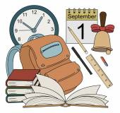 Vector cartoon style school icons
