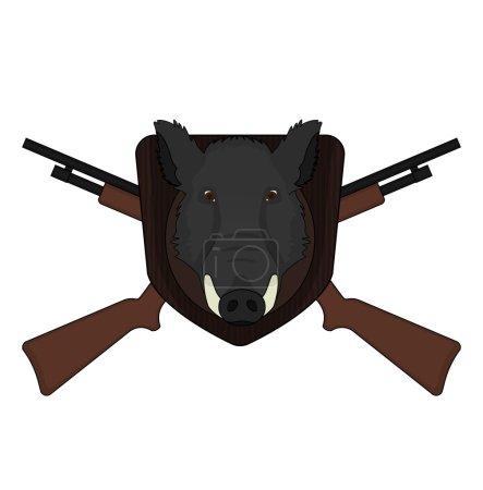 Stuffed taxidermy wild boar head with big tusks