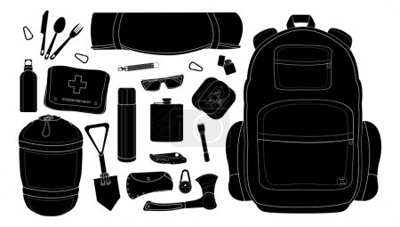 Illustration for Camping set: carabiner, knife, spoon, fork, mat, backpack, canned food, flashlight, ax, compass, pocket knife, flask, sunglasses, bracelet, first aid, shovel, sleeping bag, bottle. - Royalty Free Image