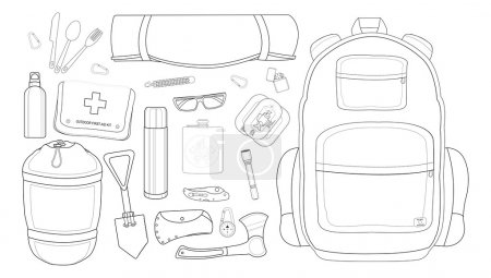 Illustration for Camping set: carabiner, knife, spoon, fork, mat, backpack, canned food, flashlight, ax, compass, pocket knife, flask, sunglasses, bracelet, first aid, shovel, sleeping bag, bottle. - Royalty Free Image