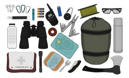 Illustration for Set of survival camping equipment: flashlight, canned food,  pocket knife, ax, carabiner, whistle, batteries, lighter, compass, rope, bottle - Royalty Free Image