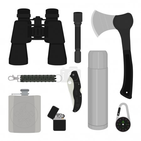 Illustration for Camping set. Binoculars, flashlight, ax, survival paracord bracelet, folding pocket knife, aluminum thermos, compass, lighter, flask. No contour vector illustration isolated on white - Royalty Free Image
