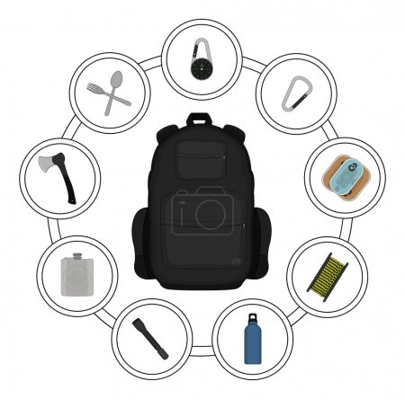 Illustration for Traveler black backpack contents. Tourism objects in round frame. Vector clip art illustrations isolated on white - Royalty Free Image
