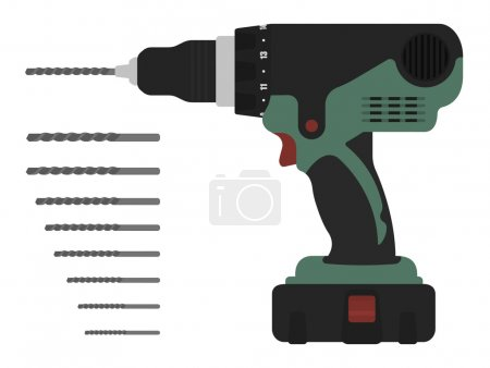 Electric cordless hand drill with bits
