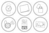Every day carry detailed linear icons set Hand watches money wallet gasoline lighter mp3 music player cigarettes pack credit card Vector clip art illustrations isolated on white