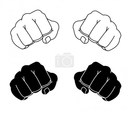 Comics style clenched man fists black and white co...