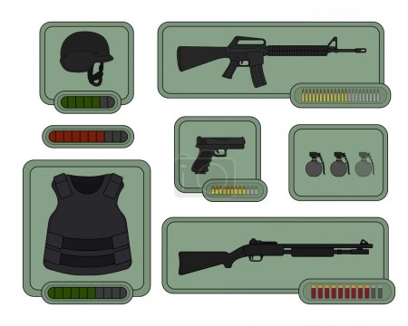 Game resources, military weapons icons