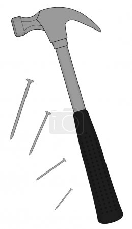 Claw hammer with steel nails