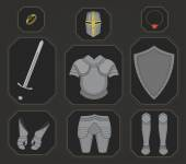 Knight warrior armor set in game