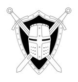 Medieval helmet shield swords logo