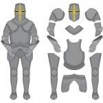 Medieval templar knight armor set. Helmet, shoulde...