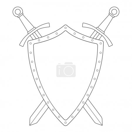 Two crossed swords with shield