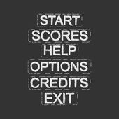 Set of video game menu resources buttons Start scores help options credits exit Grunge scratches style Clip art isolated on white