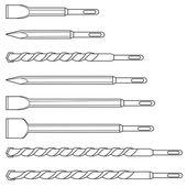 Set of professional hammer drill bits