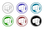 Pointing fingers icons set
