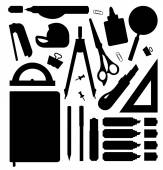 Stationery tools silhouettes set