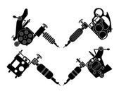 Set of different tattoo machines icons