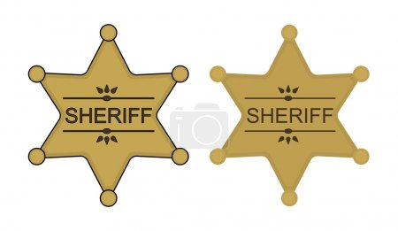 Wild west sheriff star badge icon