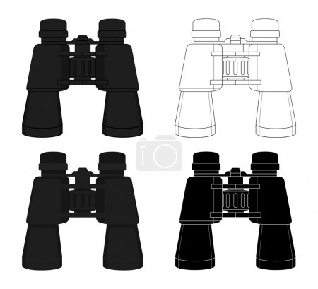 Illustration for Realistic travel vector binoculars icon set. Color, contour, silhouette. Clip art illustrations isolated on white - Royalty Free Image