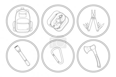 Illustration for Camping linear icons set. Backpack, canned food, multi tool, flashlight, carabiner, axe. Vector clip art illustrations isolated on white - Royalty Free Image