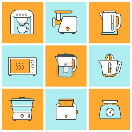 Photo for Kitchenware flat design color icons set. Modern kitchen appliances items. Cooking equipment. Vector - Royalty Free Image