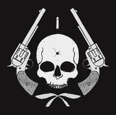 Wild west skull with bullet hole and two  pistols grunge emblem Vector illustration